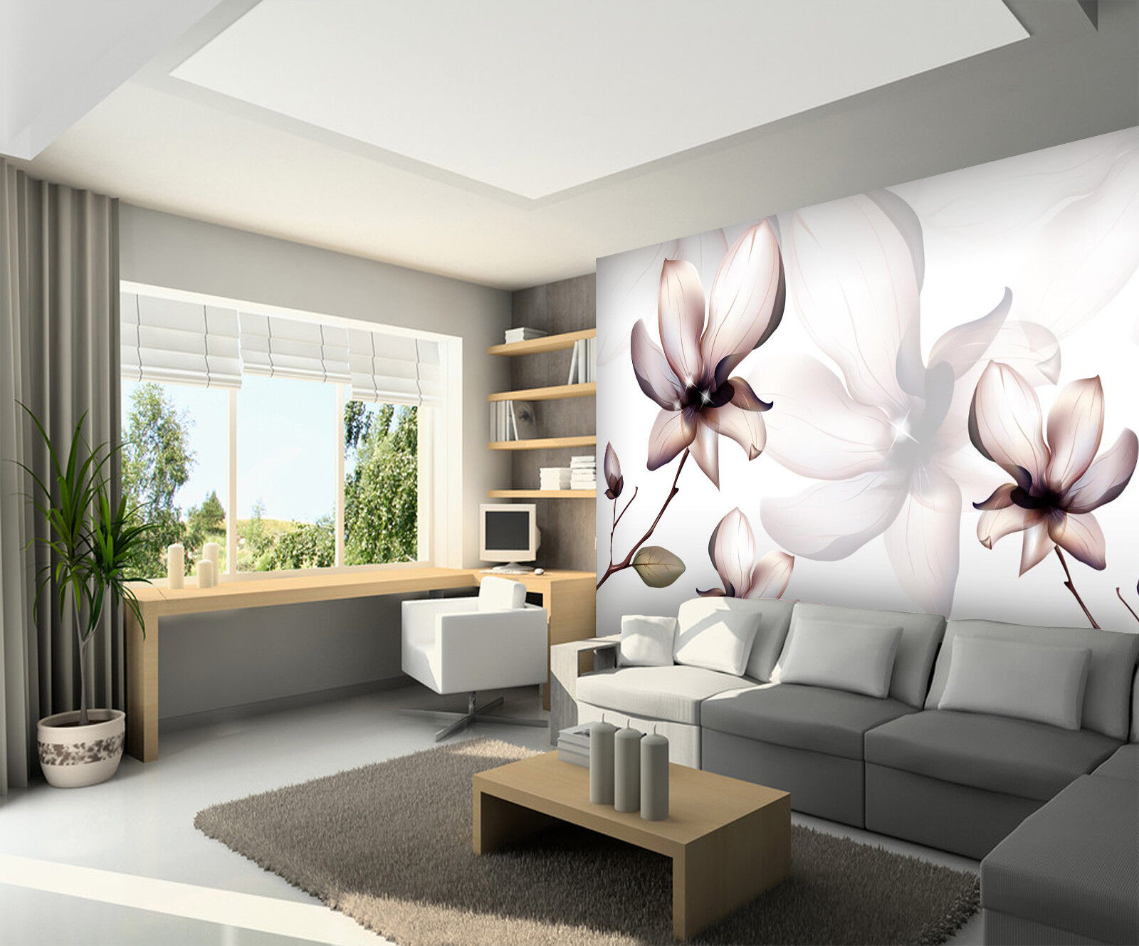 3D Beautiful Flower 7 Wall Paper Murals Wall Print Wall Wallpaper Mural AU Carly