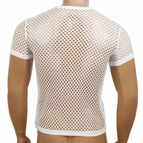 Fashion homme maille résille See Through T-Shirt Muscle Tops Fitness T-shirts Chemisier