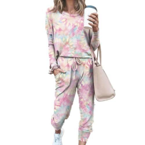 Damen Trainingsanzug Tie Dye Sport Fitness Joggers Sweatshirt Hausanzug Langhose