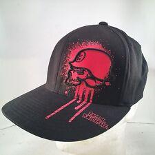 METAL MULISHA Authentic Black Red Dripping Skull L/XL Flexfit Flat Brim Hat