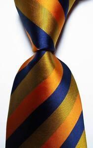 New-Classic-Striped-Gold-Dark-Blue-Orange-JACQUARD-WOVEN-Silk-Men-039-s-Tie-Necktie