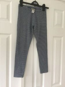 Next-Girl-039-s-Blue-grey-Striped-Leggings-Age-10-Years