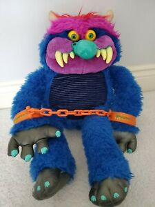 RARE-Vintage-1986-My-Pet-Monster-With-Handcuffs-80s-Plush-Clean-24-034-AmToy-Toy