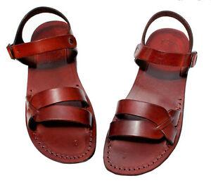 8fe7b3bab6b03a Image is loading Jerusalem-Biblical-Jesus-Sandals-Brown-Leather-Straps -Buckle-