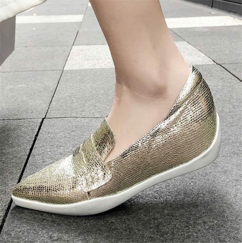 Women Vogue Sheepskin Leather Pointed Toe Ballet Flats Loafer Comfort Sneaker