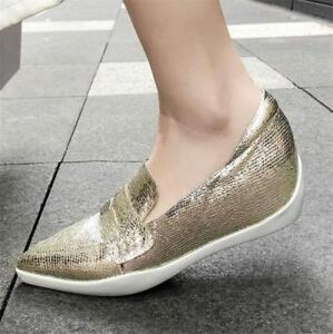 d8aa2d1592fa Image is loading Women-Vogue-Sheepskin-Leather-Pointed-Toe-Ballet-Flats-