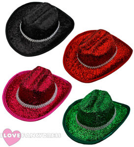 44ab83727aa 12 X MINI TINSEL COWBOY HAT WILD WESTERN COWGIRL HEN PARTY HOLIDAY ...
