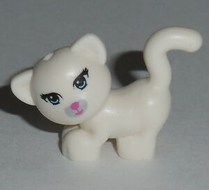 Looking Left w//Blue Eyes ANIMAL Lego White Cat Standing Pink nose NEW Friends