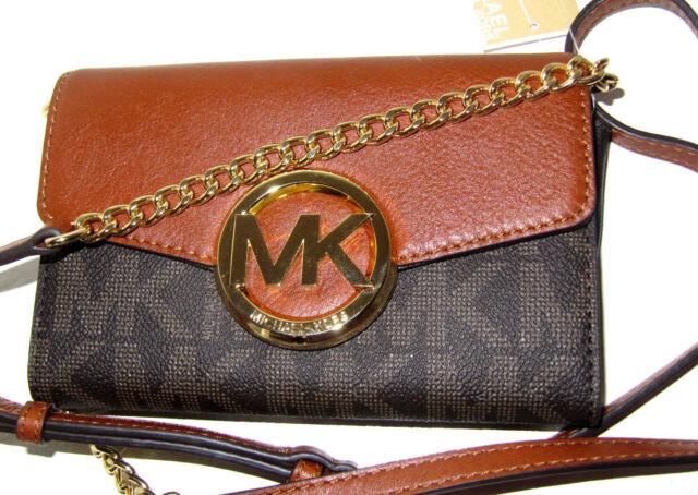 3f3b2c218bdf30 ... wholesale michael kors hudson signature mk logo pvc leather phone  wallet crossbody bag f5af7 2e12a
