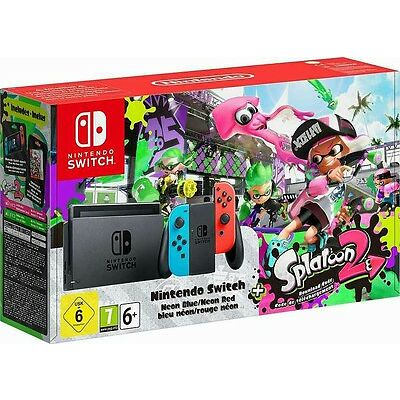 NINTENDO SWITCH KONSOLE NEON-BLAU / NEON-ROT + SPLATOON 2 LTD