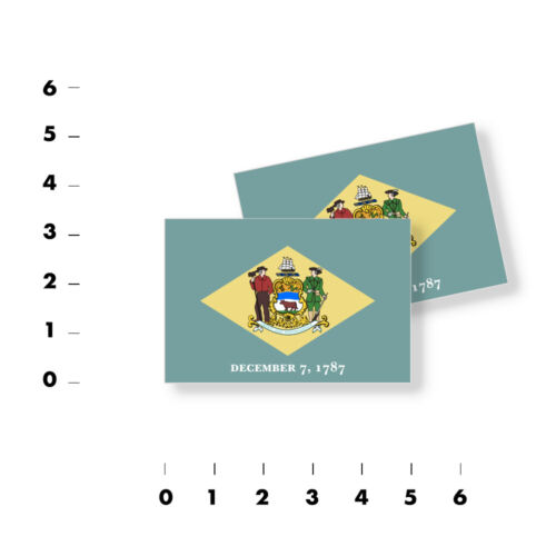 Set of 4 Vinyl Sticker Delaware State Flag Adhesive Decals Various Sizes