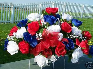 Patriotic-Roses-4th-of-July-Cemetery-Grave-Flowers-Tombstone-Saddle-Memorial-Day