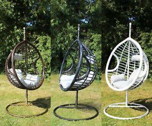 Swing Hanging Egg Chair With Cushion Patio Garden Outdoor Pe Rattan Furniture Ebay