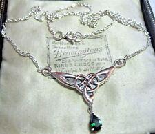 Joyas Vintage Nudo Celta 925 Esmeralda Cristal Collar de plata esterlina sólida
