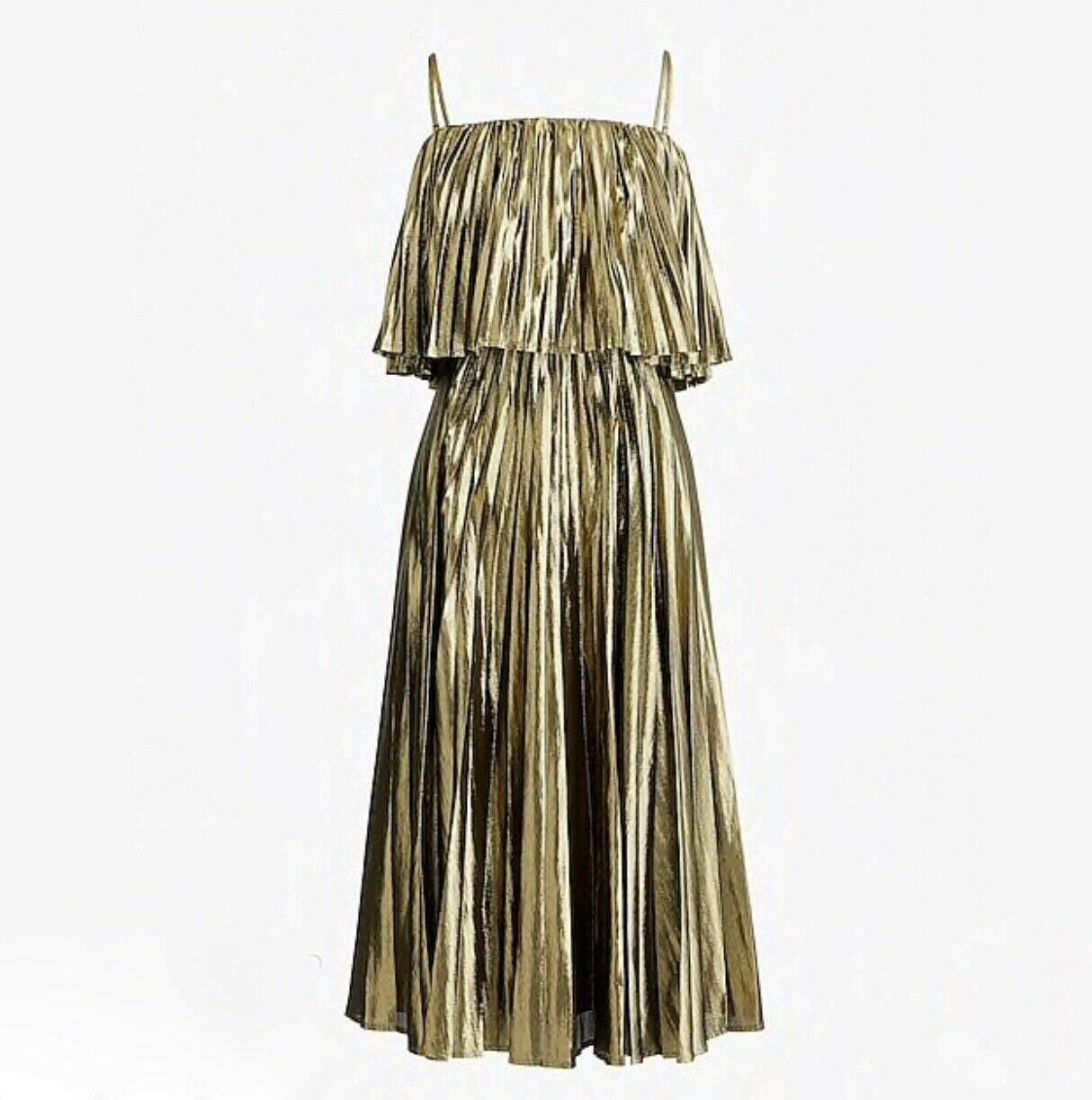J.CREW COLLECTION PLEATED MIDI DRESS IN gold LAME SIZE 0 K4474