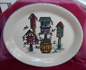 Home Garden Party Pottery Birdhouse Oval Serving Platter