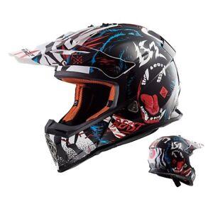 LS2-MX437-Casque-Cross-Rapide-Beast-Enduro-Motocross-Mx-Casque-Noir-Blanc