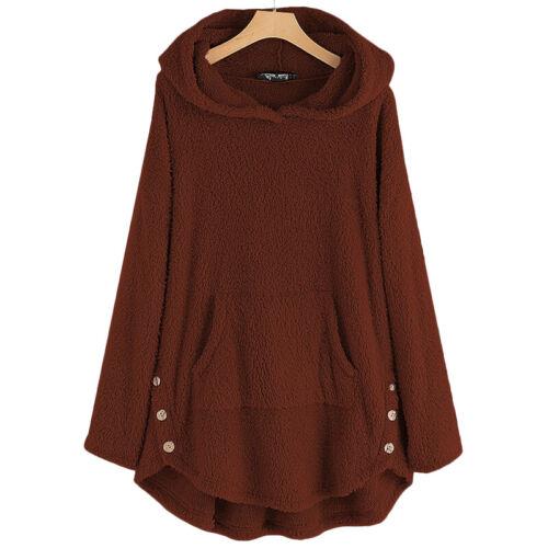 Womens Irregular Hoodie Sweatshirt Teddy Bear Winter Tops Coat Jumper Plus Size