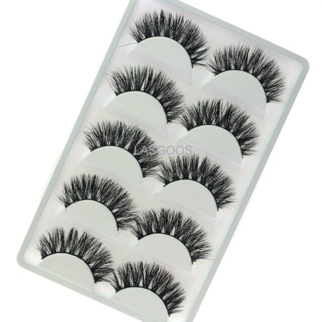 5 Pairs 3d Mink False Eyelashes Lasgoos Hot Wispy Cross Fake Eye