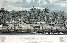 Sacramento Riverfront at Foot of J St., CA - 1849 - Historic Lithograph Print