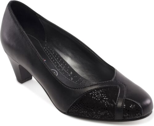 Court Shoes Black Padders JOANNA Ladies Womens Leather Extra Wide Fitting 2E