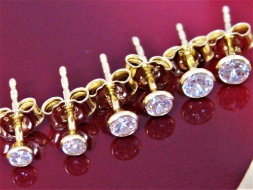 Ohrstecker 925 Sterling Silber Gold Vergoldet Damen Ohrringe Zirkonia Set 3Paar