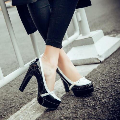 travail pompe robe de talon plate chaussures forme chunky boucle Mode décoration féminine bloc haut 7qg1OSfCS