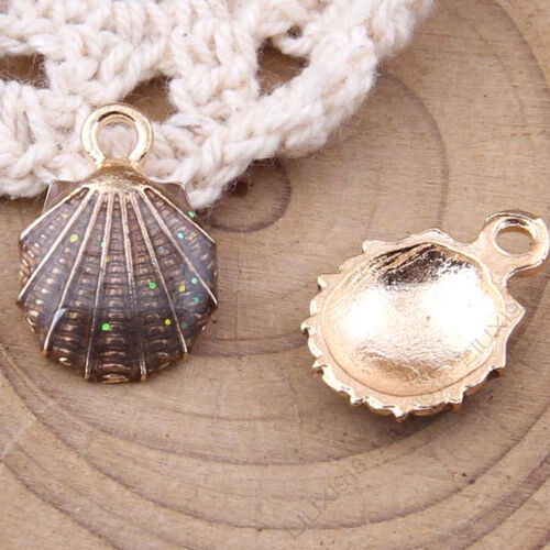 Enamel Charms Sea shell Pendant Dangle Beads Jewelry Making Small Pendants 1034Y