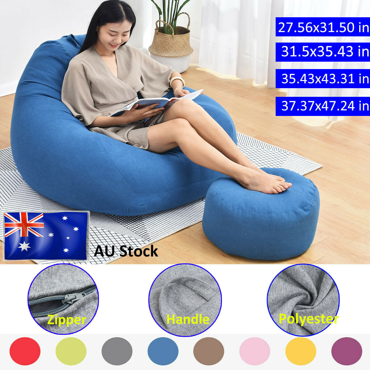2x Kids Air Chair Sofa Bed Lazy Been Bag Inflatable Flocking Beach Lounger
