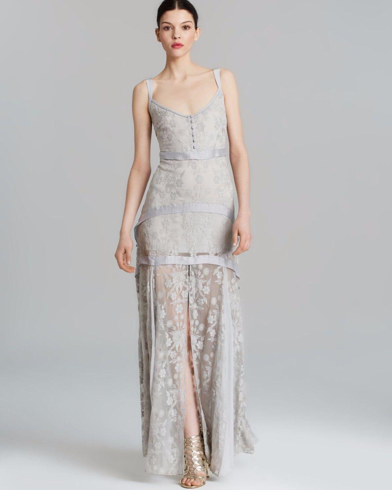 ELIZABETH & JAMES LISE PALE GREY SILK TIERED MAXI DRESS  595NWT Sz 6 Embroidered