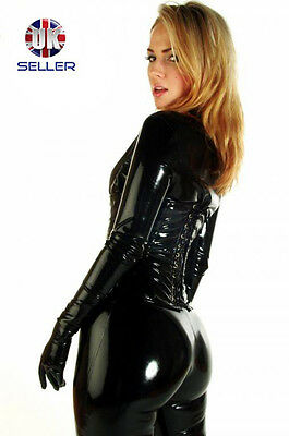 Black catsuit costume cosplay fancy dress catwoman shiny pvc gloves feet include