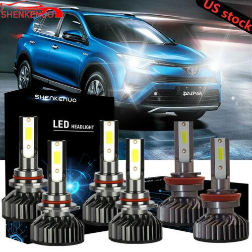 6x 9005+9005+H16 High+Low+Fog Light LED Headlight Kit For 2013-2015 Toyota RAV4