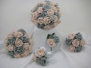 Image Is Loading Wedding Bouquets Grey Blush Pink Silver Posy