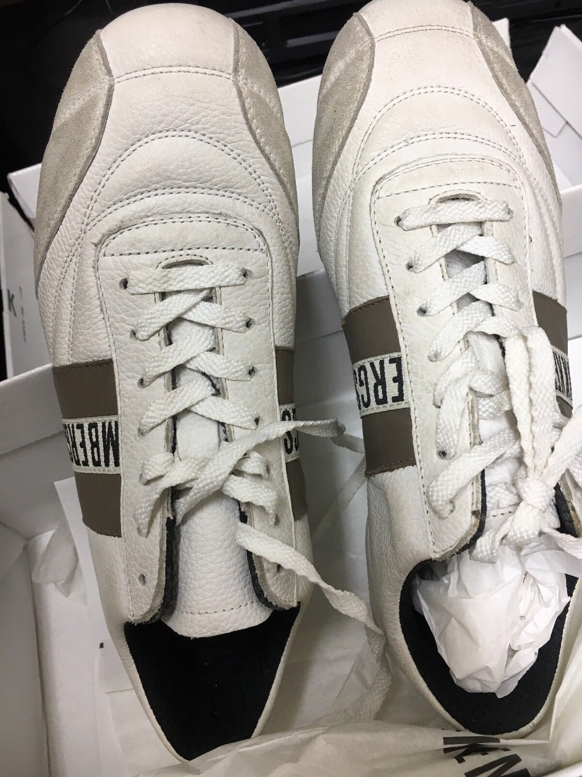 BIKKEMBERGS Uomo Bianco Pelle Con Scarpe Da Ginnastica Scarpe Da Ginnastica fango a righe taglia 40