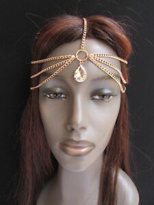 Women Gold Metal Head Chain Fashion Jewelry Big Silver Bead Front Forehead Drop
