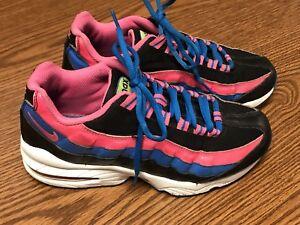 8ab3dde2cc Nike 310830 007 Air Max 95 GS Black Pink Blue White Kids Running ...