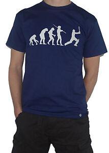 NEW-Evolution-Cricket-T-Shirt-Cricketer-Funny-Evolution-Man-Sports-Batsman-Top