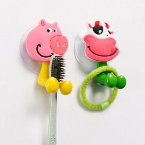 Cartoon Animal Toothbrush Holder Wall Mounted Sucker Bathroom Suction Cup New
