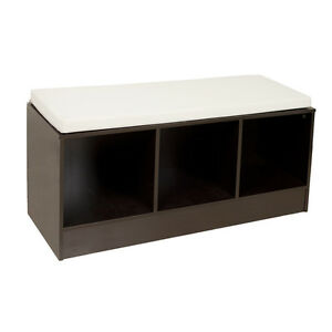 Image Is Loading Entryway Espresso Finish Contemporary Storage Bench  With Canvas