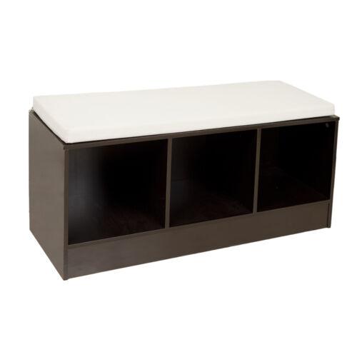 Entryway Espresso finish Contemporary Storage Bench with Canvas Cushion-DanyaB™