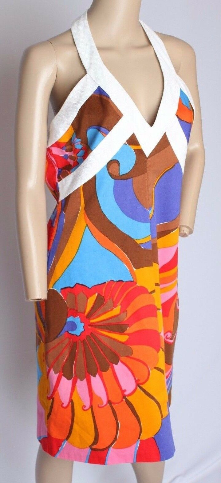 Trina Turk Psychedelic Bright Floral colorful Cotton Halter Dress 8