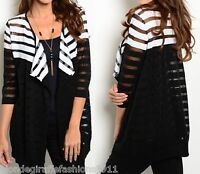 Black/White Stripe Burnout 1/2 Sleeve Open Front Cardigan/Cover-Up S M L