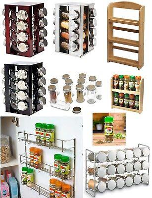 2//3//4 Tier Wall Mount Spice Herb Jar Rack Holder Kitchen Door Cupboard Storage