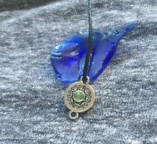 Chakra Spirit & Mind Balancing Silver & Emerald Amulet Pendant Wicca Pagan Art