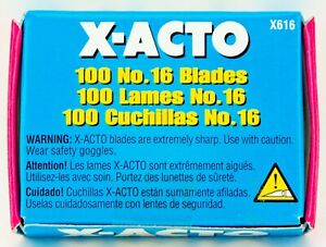 X-ACTO No.16 Sharp Scoring Blades 100 Pack X616 #16 Original Made in USA XACTO