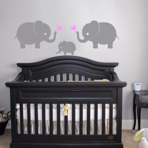 Wall Vinyl Decal Sticker 3 Elephants w// Hearts Nursery Decor Elephant Family