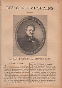 Jean-Marie de La Mennais France JOURNAL COMPLET 16 PAGES 1893 - France - Jean-Marie de La Mennais (aussi écrit de la Mennais ou de Lamennais) est un prtre franais, né Bretagne (Ille-et-Vilaine) le 8 septembre 1780, mort Ploërmel (Morbihan) le 26 décembre 1860 ( 80 ans). Son nom de famille est Robert et c'est en s' - France