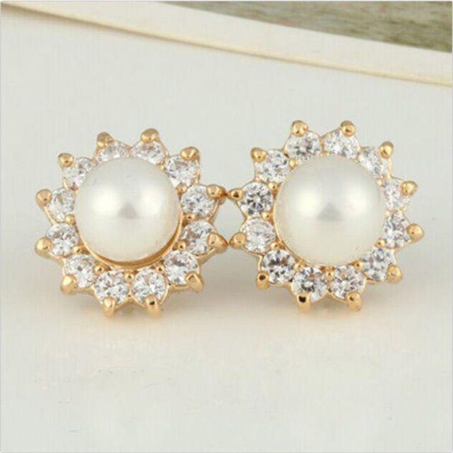 Workmanship In Elegant Diamond Hypoallergenic Earrings Pearl Does Not Fade