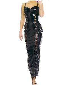 Black-PVC-Long-Dress-Size-8-Sexy-2-Tie-Up-Front-detail-zip-down-back-burlesque