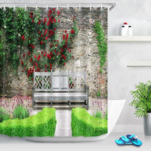 Home Yard Flower Scenery Flower on Rustic Wall Shower Curtain Waterproof Fabric